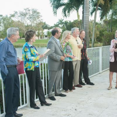 Paul and Rochelle Koenig, Commissioner Angel Gomez,  Debbie and Tim Martin (hosts), Roger Lander,  and Victoria Jolson.