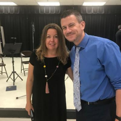 Christy Blackford, Weston Philharmonic Society -  Vice President of Education and Mr. Keith Peters, Principal of Gator Run Elementary.